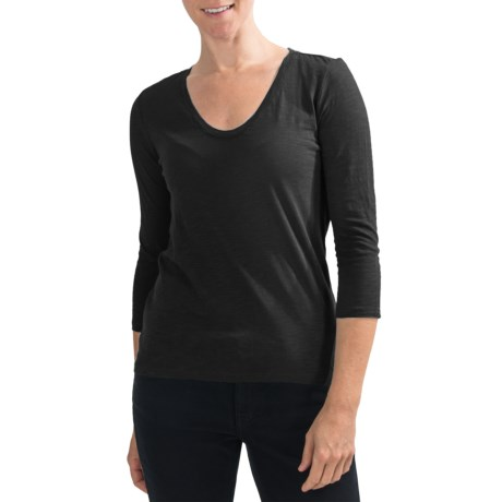 Slub Knit Shirt - V-Neck, 3/4 Sleeve (For Women)