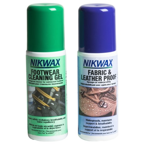 Nikwax Clean & Waterproof Fabric-Leather Footwear Kit - Twin Pack, 4.2 fl.oz.