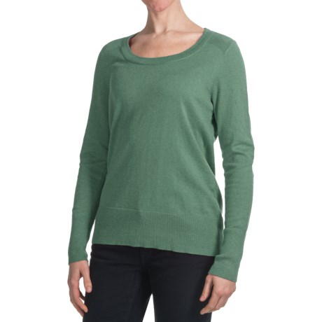 Cotton-Nylon Relaxed Fit Sweater - Scoop Neck (For Women)