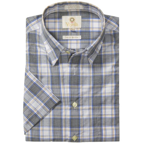 Viyella Cotton Check Shirt - Hidden Button-Down Collar, Short Sleeve (For Men)