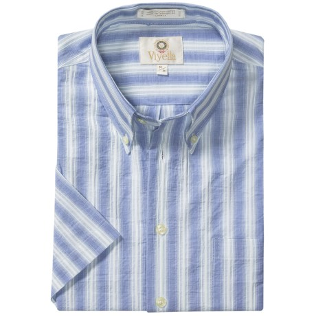 Viyella Cotton Stripe Sport Shirt - Button Down, Short Sleeve (For Men)
