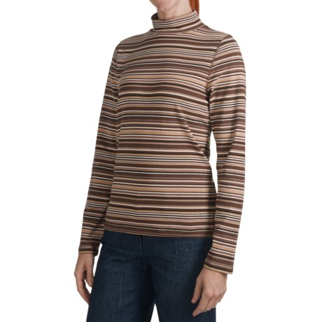 Stretch Stripe Mock Turtleneck - Long Sleeve (For Women)