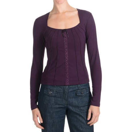 Specially made Criss-Cross Lace Front Shirt - Long Sleeve (For Women)