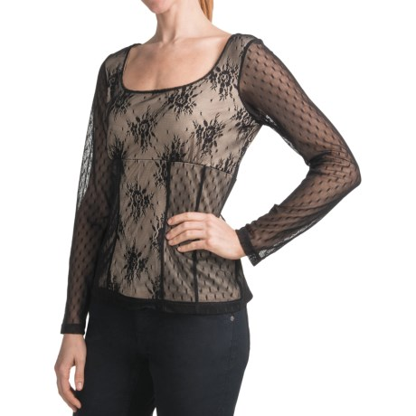 Elegant Lace Overlay Shirt - Long Sleeve (For Women)