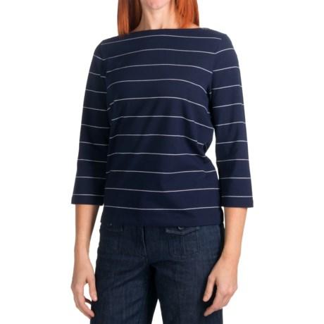 Stripe Crew Shirt - Stretch Cotton, 3/4 Sleeve (For Women)