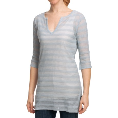 Striped Knit Tunic Sweater - V-Neck, Long Sleeve (For Women)