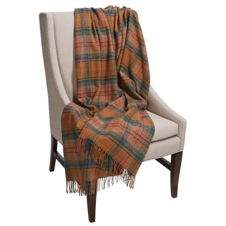 Moon Plaid Throw Blanket - Wool- 59x72""