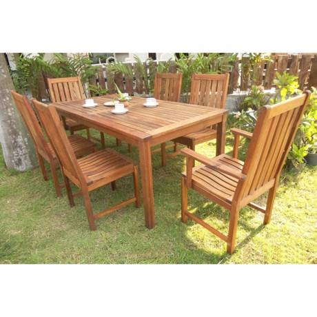 "Everlasting Acacia 70"" Rectangle Dining Set - 7-Piece, Wood"