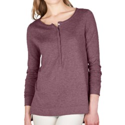 Lilla P Hi-Lo Henley Tunic Sweater - Cotton-Modal-Cashmere (For Women)