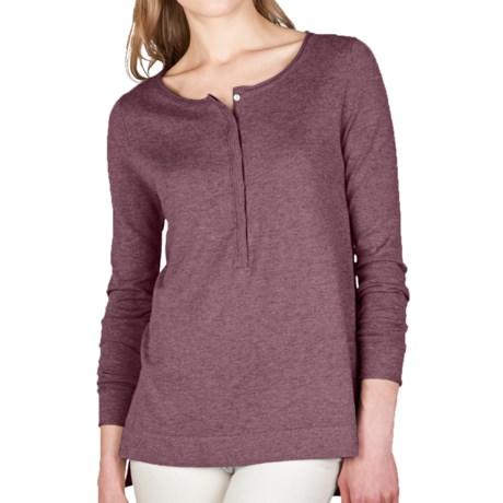 Lilla P Hi-Lo Henley Tunic Sweater - Cotton-Modal-Cashmere (For Women)