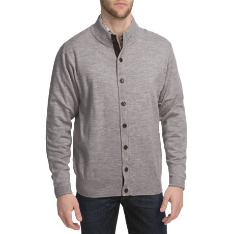 Peter Millar Merino Wool Cardigan Sweater - Suede Elbow Patches (For Men)