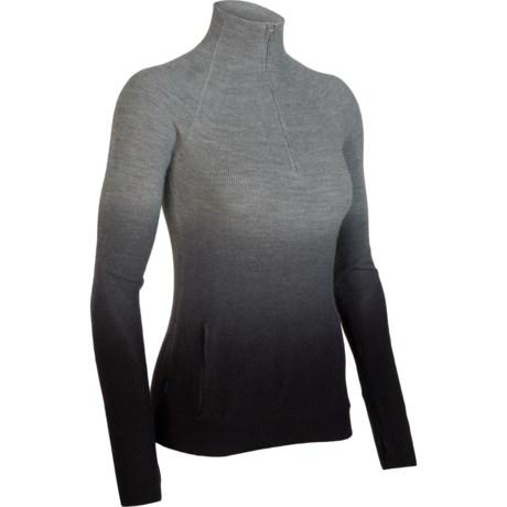 Icebreaker Aurora Sweater - Merino Wool, Zip Neck (For Women)