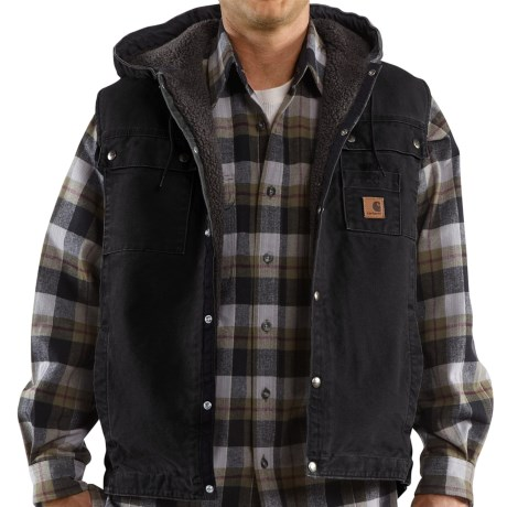 Carhartt Sandstone Multi-Pocket Vest - Hooded, Snap Front, Sherpa Lining (For Tall Men)