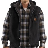 Carhartt Sandstone Multi-Pocket Vest - Hooded, Snap Front, Sherpa Lining (For Men)