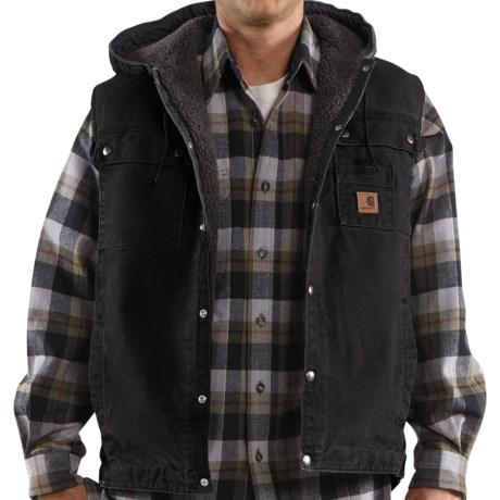 Carhartt Sandstone Multi-Pocket Vest - Hooded, Snap Front, Sherpa Lining (For Men)