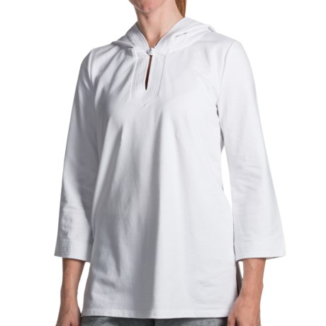 French Terry Hooded Tunic Shirt - 3/4 Sleeve (For Women)