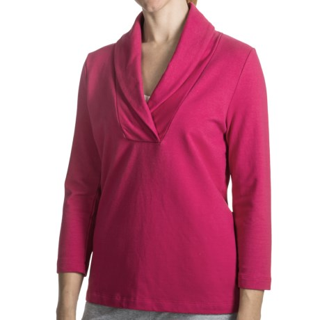 French Terry Shirt - Shawl Collar, 3/4 Sleeve (For Women)