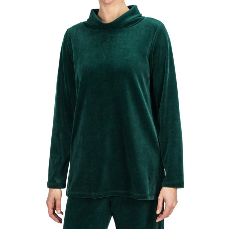 Plush Velour Turtleneck - Long Sleeve (For Women)