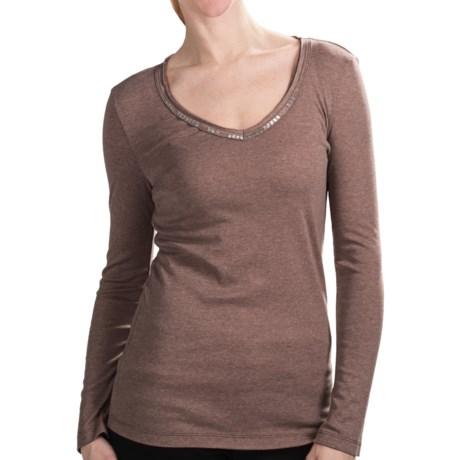 dylan Dylan by True Grit Bugle-Bead T-Shirt - V-Neck, Long Sleeve (For Women)