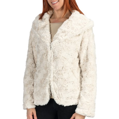 dylan Embossed Silky Hooded Jacket - Faux Fur (For Women)