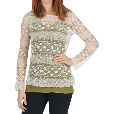 dylan t Zig-Zag Lace Shirt - Long Sleeve (For Women)