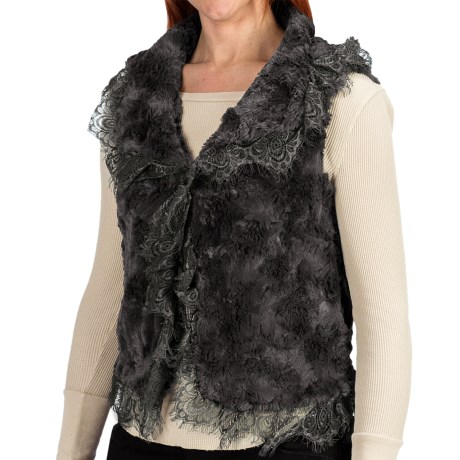 dylan Silky Vest - Faux Fur, Lace Trim (For Women)