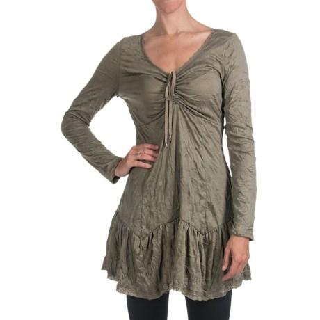 Dylan by True Grit Crinkle-Knit Dress - Lace Trim, Long Sleeve (For Women)