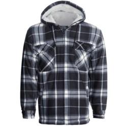 Hooded Fleece Jacket - Plaid, Sherpa Lining (For Men)