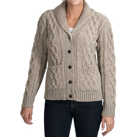 Peregrine Aran Shawl Collar Cardigan Sweater - Peruvian Merino Wool (For Women)