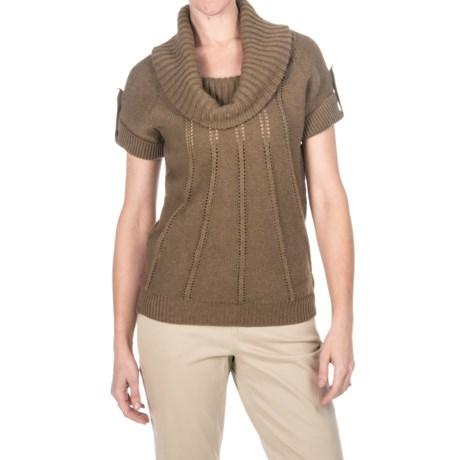 Pointelle Cowl Neck Sweater - Cotton-Merino, Short Sleeve (For Women)