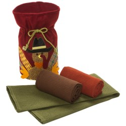 DII Felt Turkey Gift Bag With Dish Towels - Set of 3