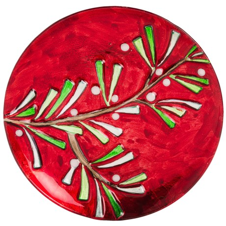 "DII Holiday Sprig Serving Plate - 12"", Glass"