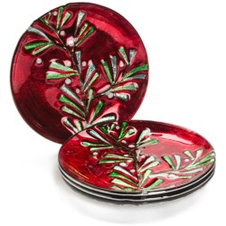 DII Holiday Sprig Plates - Set of 4, Glass