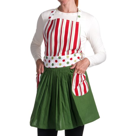DII Peppermint Polka-Dots and Stripes Aprons - Set of 2