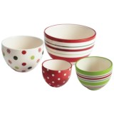 DII Holiday Dots and Stripes Prep Bowls - Set of 4, Ceramic