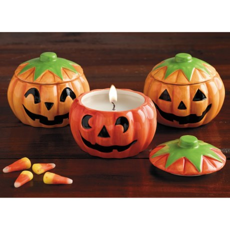 DII Jack-o'-Lantern Soy Candles - Set of 3