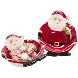 DII Jolly Santa Candy Bowls - Set of 2, Ceramic