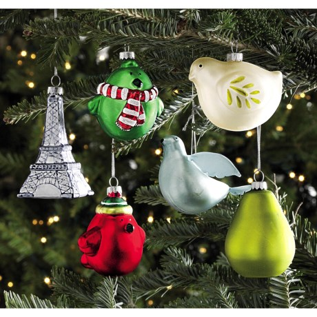 Tag Christmas Holiday Hand-Painted Glass Ornaments - Set of 6