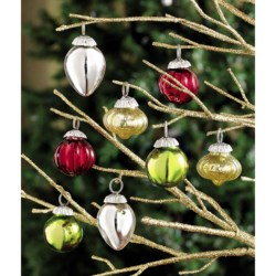 Tag Mini Mercury Bulb Glass Ornaments - Set of 8