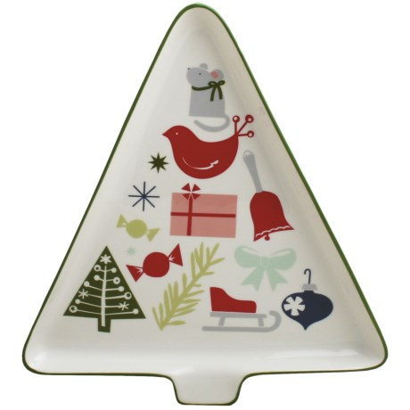 Tag Happy Holidays Tree-Shaped Platter