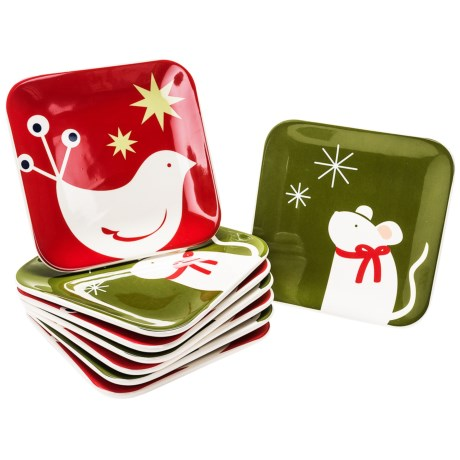 Tag Happy Holidays Appetizer Plates - Ceramic, Set of 8