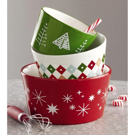Tag Happy Holidays Ceramic Bowls - Set of 3