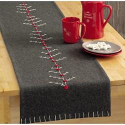 "Tag Chalet Tree Wool Felt Table Runner - 60"""