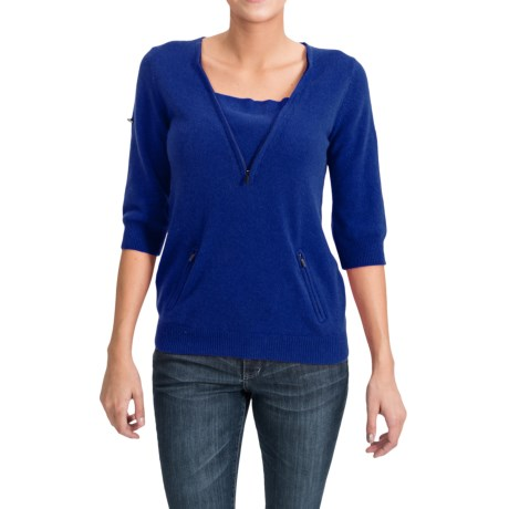 Cashmere Sweater - Zip Neck, 3/4 Sleeve (For Women)