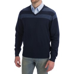 Toscano V-Neck Sweater - Color-Block Stripe (For Men)