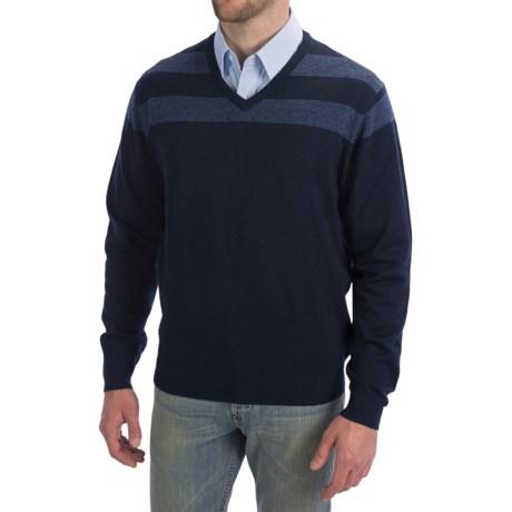 Toscano V-Neck Sweater - Color-Block Stripe (For Men)
