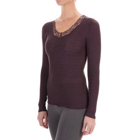 Calida Kirstin Top - Wool-Silk, V-Neck, Long Sleeve (For Women)