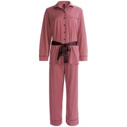 Calida Ingrid Button-Front Pant Pajamas - Interlock Cotton, Long Sleeve (For Women)