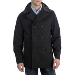 Bullock & Jones Luxe Wool Pea Coat - Leather Trim (For Men)