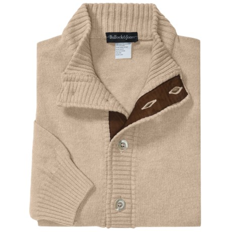 Bullock & Jones Merino Wool-Cashmere Cardigan Sweater - Suede Trim (For Men)